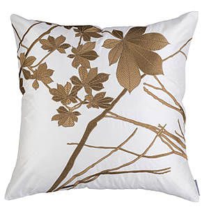 Lili Alessandra Leaf Ivory Silk/Antique Gold Embroidery Decorative Pillow