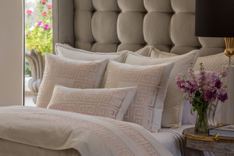 Lili Alessandra Laurie and Guy Blush Velvet Applique Bedding Collection