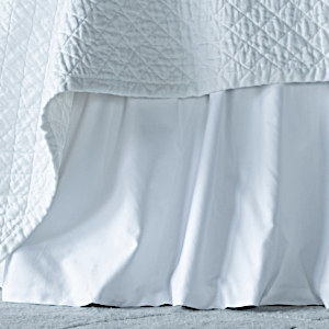 Lili Alessandra Battersea White Cotton Gathered Bed Skirt