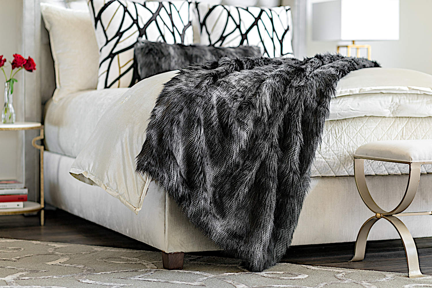Lili Alessandra Black Faux Fur Pillow