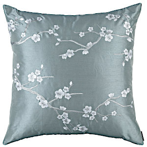 Lili Alessandra Blossom Blue Venetian Silk (poly) with Silver embroidery thow and Pillows