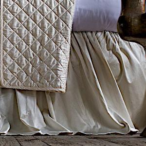 Lili Alessandra Chloe Ivory Velvet Bed Skirt