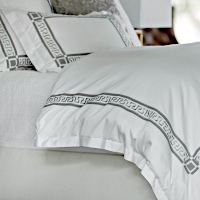 The Dimitri Duvet is made with White Cotton and a beautiful Pewter Cotton Greek key applique.