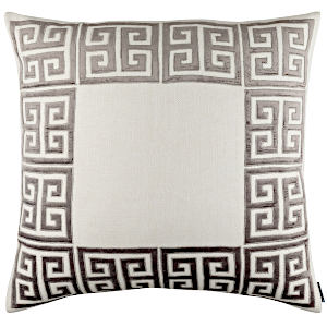 Lili Alessandra Guy Ivory Basketweave/Platinum Velvet Applique Decorative Pillow