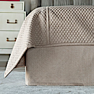 Lili Alessandra Laurie Tailored 3 Panel Bed Skirt - Solid Stone Basketweave