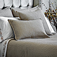 The Laurie Diamond Quilted King Coverlet and shams is made with Stone Basketweave. The Laurie King Duvet and shams are made with solid Stone Basketweave. Duvet insert sold separately.