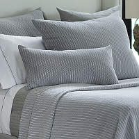 Lili Alessandra Chevron Grey Cotton Pillows and Blankets