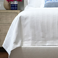 Lili Alessandra Stela Matelasse White Cotton Blankets and Pillows