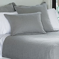 Lili Alessandra Tessa Light Grey Linen Coverlets & Pillows