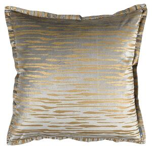 LILI ALESSANDRA ZARA EURO PILLOW LT GREY MATTE VELVET GOLD PRINT 26X26 (INSERT INCLUDED)