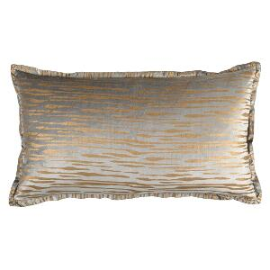 LILI ALESSANDRA ZARA KING PILLOW LT GREY MATTE VELVET GOLD PRINT 20X36 (INSERT INCLUDED)
