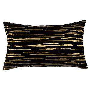 LILI ALESSANDRA ZARA LG. RECT. PILLOW BLACK MATTE VEVET GOLD EMBROIDERY 18X30 (INSERT INCLUDED)