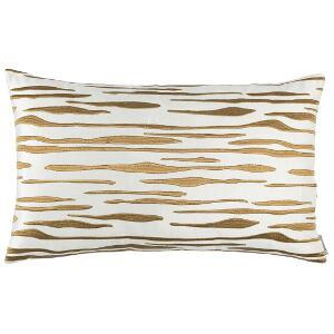 LILI ALESSANDRA ZARA LG. RECT. PILLOW IVORY MATTE VEVET GOLD EMBROIDERY 18X30 (INSERT INCLUDED)
