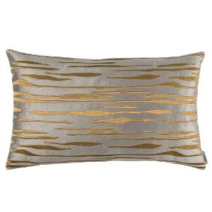 LILI ALESSANDRA ZARA LG. RECT. PILLOW PEWTER MATTE VEVET GOLD EMBROIDERY 18X30 (INSERT INCLUDED)