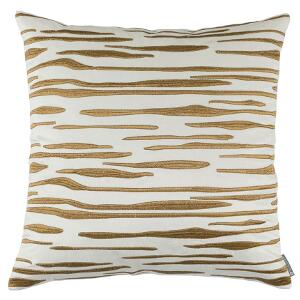 LILI ALESSANDRA ZARA SQUARE PILLOW IVORY MATTE VEVET GOLD EMBROIDERY 24X24 (INSERT INCLUDED)