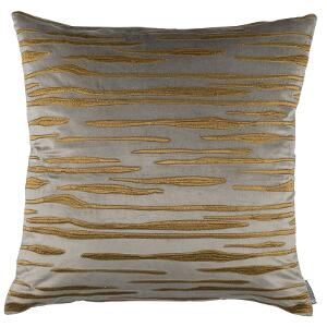 LILI ALESSANDRA ZARA SQUARE PILLOW PEWTER MATTE VEVET GOLD EMBROIDERY 24X24 (INSERT INCLUDED)