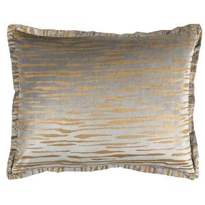 LILI ALESSANDRA ZARA STANDARD PILLOW LT GREY MATTE VELVET GOLD PRINT 20X26 (INSERT INCLUDED)