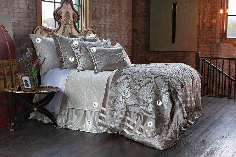 Lili Alessandra Angie Champagne Velvet with Ivory Applique Bedding Collection
