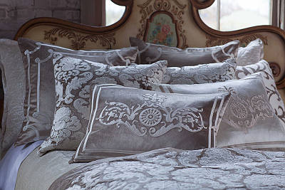Lili Alessandra Angie Champagne Velvet with Ivory Applique Pillows