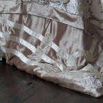 Lili Alessandra Angie Champagne/Ivory Velvet with Ivory Applique Jacquard Duvet Cover