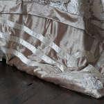 Lili Alessandra Angie Champagne/Ivory Velvet with Ivory Applique Jacquard Duvet Cover