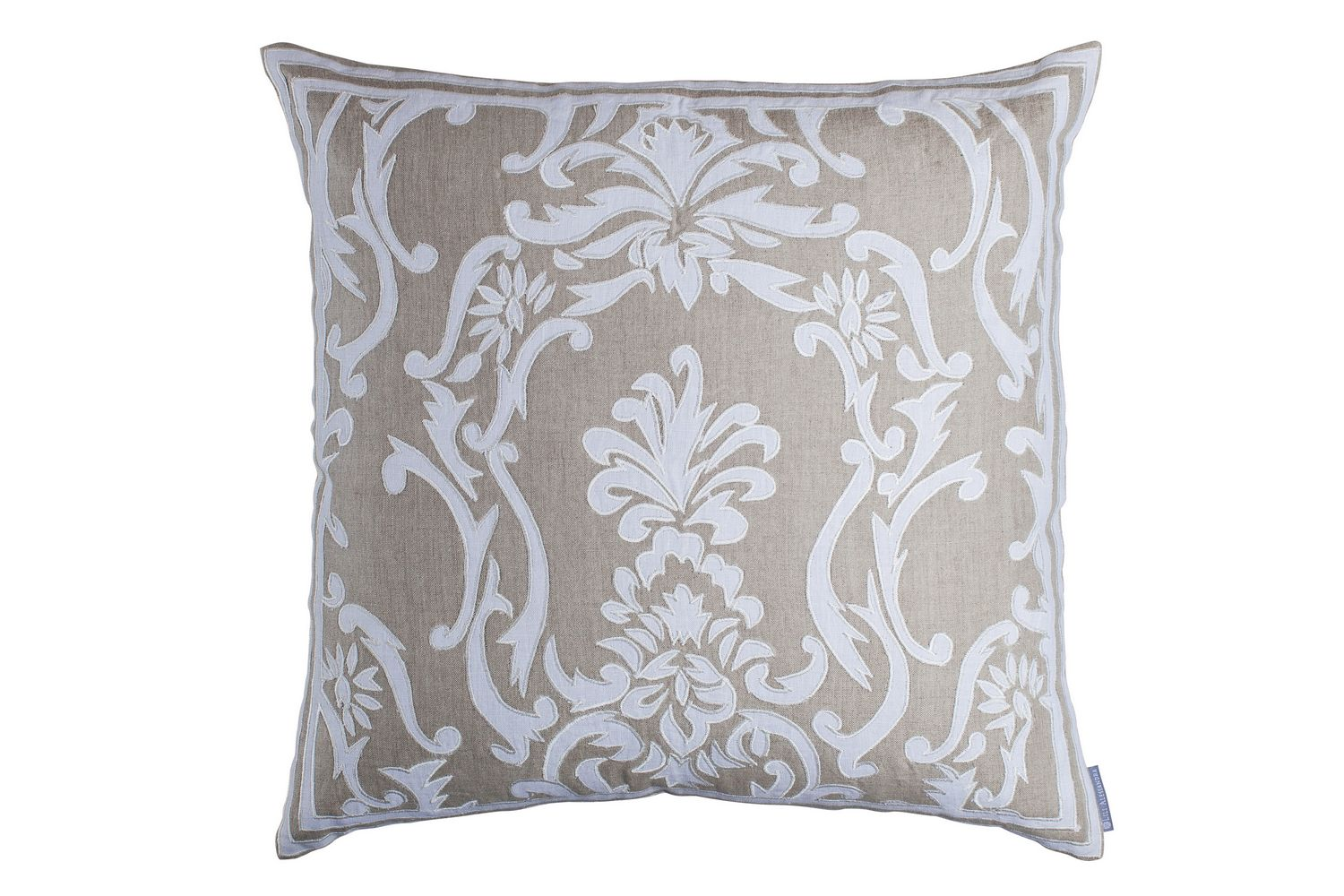 Lili Alessandra Louie Natural/White Linen Square Pillow