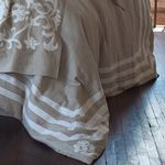 Lili Alessandra Angie Natural/White Linen with Applique Duvet