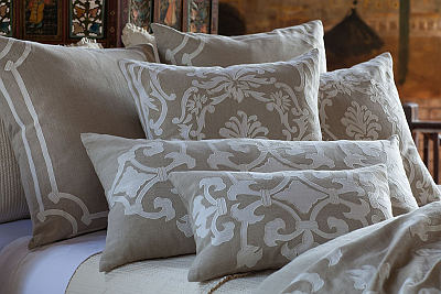 Lili Alessandra Angie Natural Linen with White Linen Applique Bedding Collection