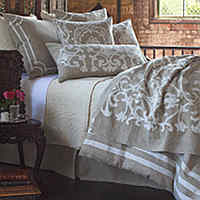 This bedding ensemble includes an elegant assortment of pillows combined with Battersea Bedspread Ivory and other contrasting pieces.
