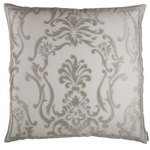 Lili Alessandra Hand Appliqued Pillows in White Linen with Silver Velvet Applique.