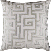 Choose from many decorative pillows with an ice silver velvet applique design on white linen