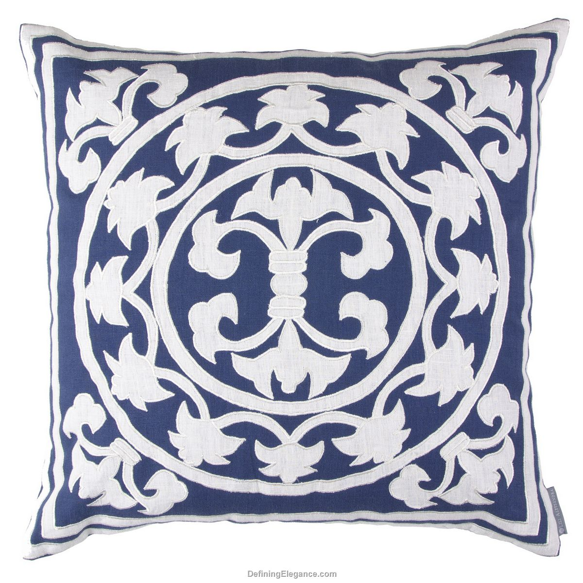 Throw Pillows Navy And White : Discontinued Lili Alessandra Navy Linen with White Pillows and Throw