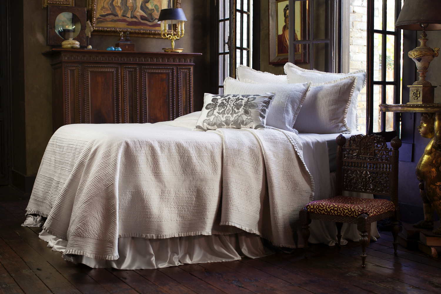 Lili Alessandra Battersea Ivory Quilted Bedspread