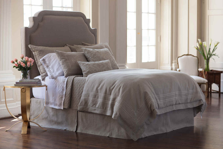 lili alessandra barcelona stone linen/cinnabar/straw pillows