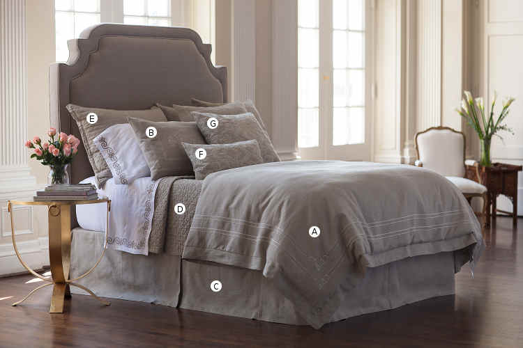 Lili Alessandra Casablanca Stone Linen with Stone Linen Applique Bedding Collection