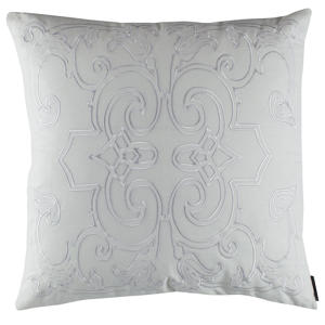 Lili Alessandra Mozart White Linen with White Linen Applique Pillow