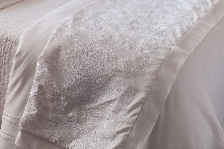 Lili Alessandra Mozart White Linen with White Linen Applique Throw