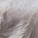 Lili Alessandra Mozart White Linen with White Linen Applique Throw