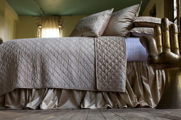 Lili Alessandra Chloe Diamond Quilted Champagne Velvet Coverlet Collection