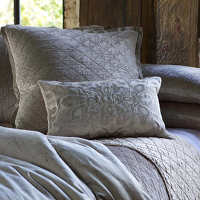 Chloe Fawn quilted coverlet and pillows with eye catching Morocco pillows complete a luxurious collection that will enhance any bedroom.