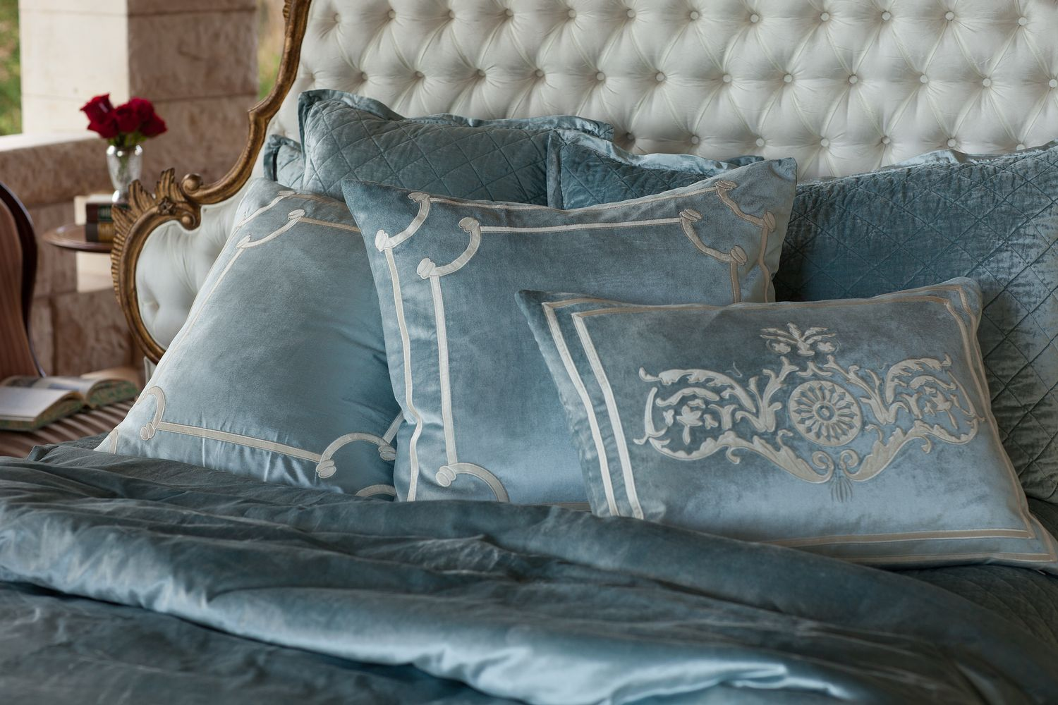 Discontinued Lili Alessandra Chloe Diamond Quilted Ice Blue Velvet ...