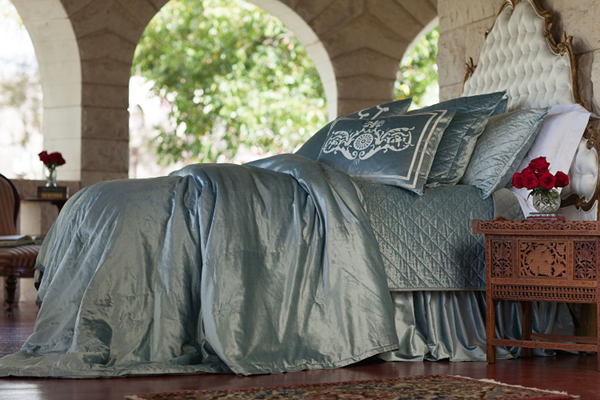 Lili Alessandra Chloe Ice Blue Velvet Bedding - Diamond Quilted Bedding Collection