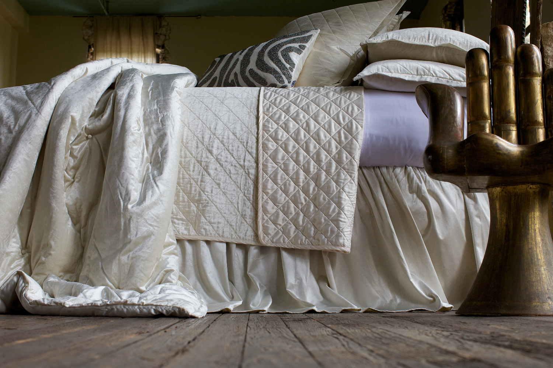 Lili Alessandra Chloe Diamond Quilted Ivory Velvet
