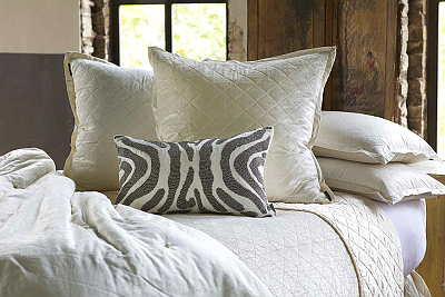 Lili Alessandra Chloe Diamond Quilted Ivory Velvet Coverlet Collection