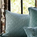 Lili Alessandra Chloe Seafoam Diamond Quilted Velvet Dec Pillows