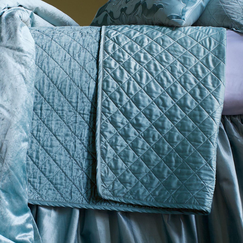Lili Alessandra Chloe Seafoam Diamond Quilted Velvet Coverlet