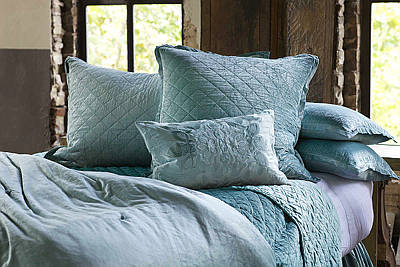 Lili Alessandra Chloe Diamond Quilted Seafoam Velvet Coverlet Collection