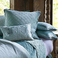 Chloe Seafoam quilted coverlet and pillows with eye catching Morocco pillows complete a luxurious collection that will enhance any bedroom.
