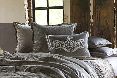 Lili Alessandra Chloe Diamond Quilted Silver Velvet Coverlet Collection