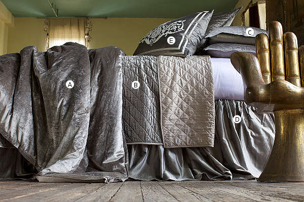 Amazing ... Quilted Silver Velvet Coverlet Collection. Lili Alessandra ...